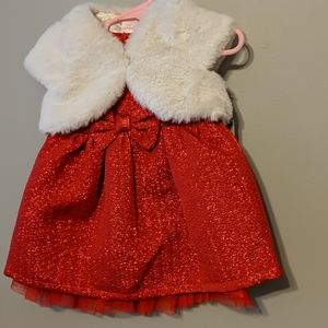 Holiday dress with faux fur shrug